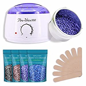 MASCHERI Wax Warmer Rapid Melt Hair Removal Waxing Kit with 4 Different Flavors [Chamomile, Lavender,Nature,Chocolate] Hard Wax Beans & 10 Wax Applicator Sticks