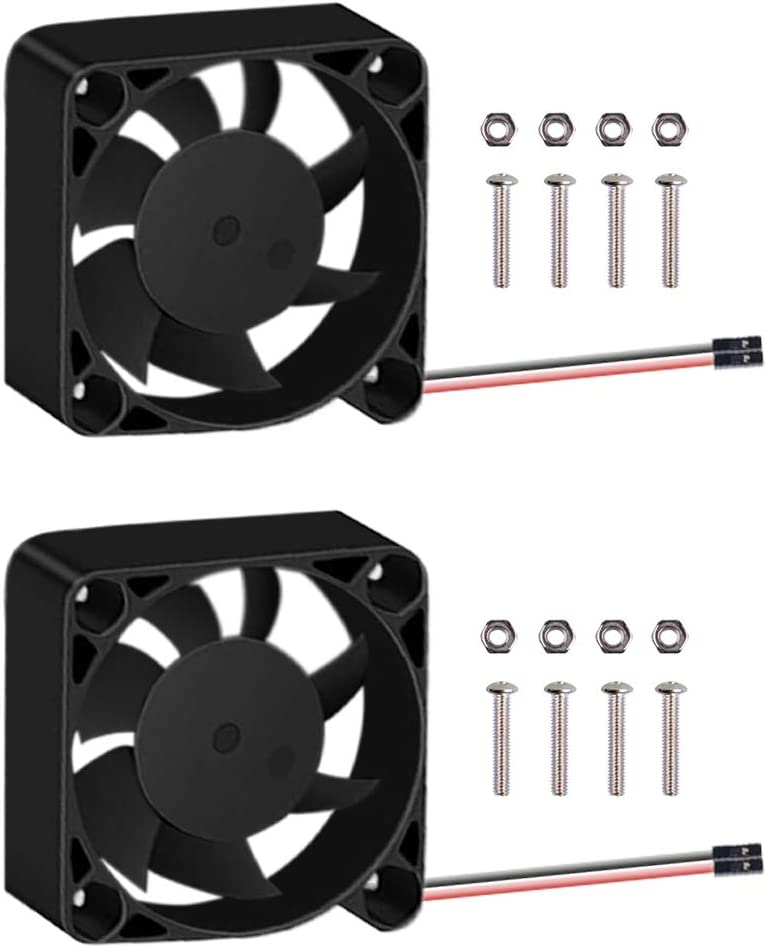 GeeekPi 2pcs Raspberry Pi 4 Fan, Raspberry Pi Cooling Fan 40x40x10mm DC 5V Brushless CPU Quiet Cooling Fan Cooler Radiator for Raspberry Pi 4 Model B, Raspberry Pi 3/2 Model B, 3B+ (Black)