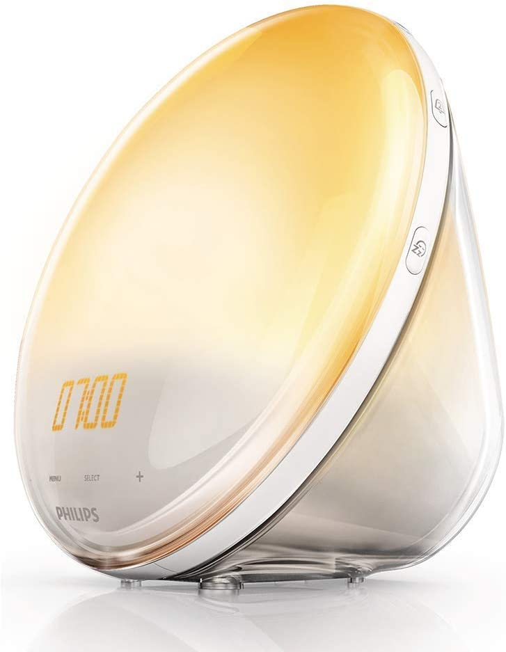 Philips Wake-up Light HF3520/01 Despertador de Luz lez, Radio FM, Simulación del Amanecer y del Atardecer, 5 Sonidos Naturales, 1 Alarma, 300 Lux, 800 W, Blanco, Sin cargador móvil