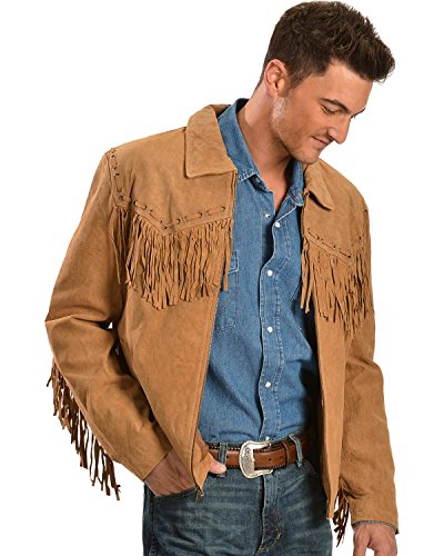 Scully Men's Fringed Suede Leather Short Jacket Bourbon (Fringed Mens Boots)