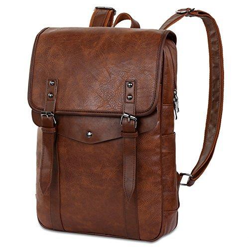 Vbiger Men Vintage PU Leather Backpack Laptop Backpack School Bookbag for Men (Leather Laptop Backpack)