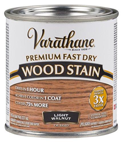 Varathane 262034 Premium Fast Dry Wood Stain, 1/2 Pint, Light Walnut