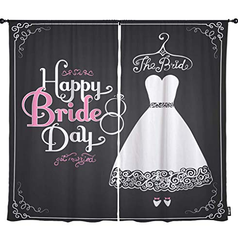 Mugod Wedding Dress Window Curtain Happy Bride Day Get Married Bridal Gown Romantic Love Rings Polyester Blackout Fabric Home Door Window Curtains/Drapes 2 Panels for Kitchen 108