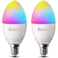 Alexa Smart LED-lampen E14, wifi-gloeilamp, 5 W, 2800 K, dimbaar, 16 miljoen kleuren, geen hub vereist, compatibel met…