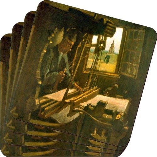 Rikki Knight Van Gogh Art Open Window Design Soft Square Beer Coasters (Set of 2), Multicolor