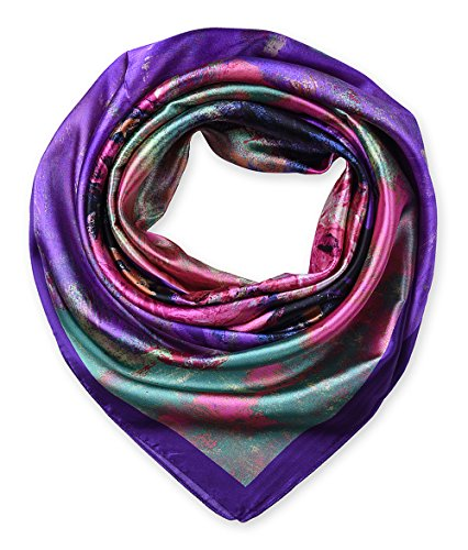 Large Square Satin Silk Like Lightweight Scarfs Hair Sleeping Wraps for Women Blue Violet Flowers (Sleeping With A Scarf In Your Hair)