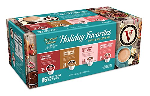 Holiday Spice Cocoa - Victor Allen Coffee Holiday Favorites Coffee & Hot Cocoa Mix Single Serve, 96 Count (Compatible with 2.0 Keurig Brewers)