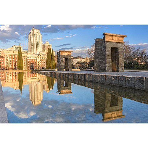 Pitaara Box Temple Of Debod, Madrid, Spain Unframed Canvas Painting 48 x 32inch by Pitaara Box