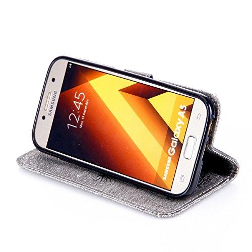 Funda Galaxy A5(2017), Funda de brillo Galaxy A5(2017), Lifetrut Sólido Shiny Sparkle Libro de Estilo de Cuero con Ranura para Tarjetas de Cierre Magnético Soporte Funda de Teléfono de la Función con  E202-Gris