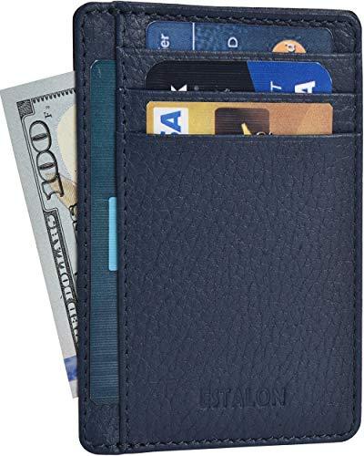 - RFID Front Pocket Leather Wallet for Men - Leather wallets for men with RFID Leather Minimalist Credit Card Holder (Navy Floater Pebble)
