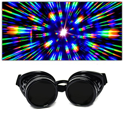 GloFX Black Padded Diffraction Goggles, Tinted Lenses Limited Edition – Raves, EDM Festivals, Light Shows, Club, Concert Wear. Rainbow Prism Fractal Kaleidoscope