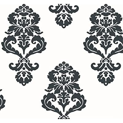 York Wallcoverings Tres Chic Graphic Damask Wallpaper