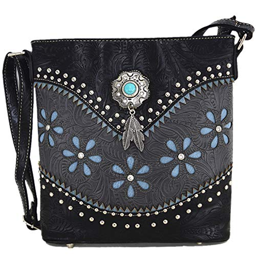 Western Tooled Leather Purse - Western Style Tooled Leather Cross Body Handbags Concealed Carry Purse Women Country Single Shoulder Bag (Black)