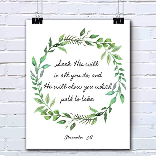 Bible Verses Wall Art Decor Quotes Printed - Inspirational Room Office Decal Posters - 8x10 inches (PROVERBS 3:6)