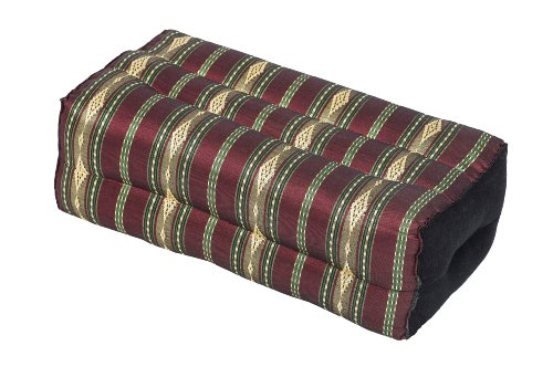 Meditation Cushion & Yoga Prop, 100% Kapok (Red & Gold Stripes). By Kapok-Dreams.