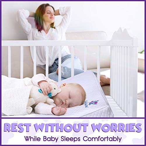 Crib Wedge Pillow for Baby - Universal - 3 Elevation Options for Better Sleep Aids in Relieving Reflux Nasal Congestion Feeding - Happy Baby and Happy Parents - Cotton Fabric w/Carry Case