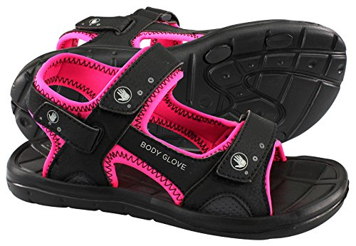 Body Glove Womens Trek Sandalo Nero / Rosa Neon