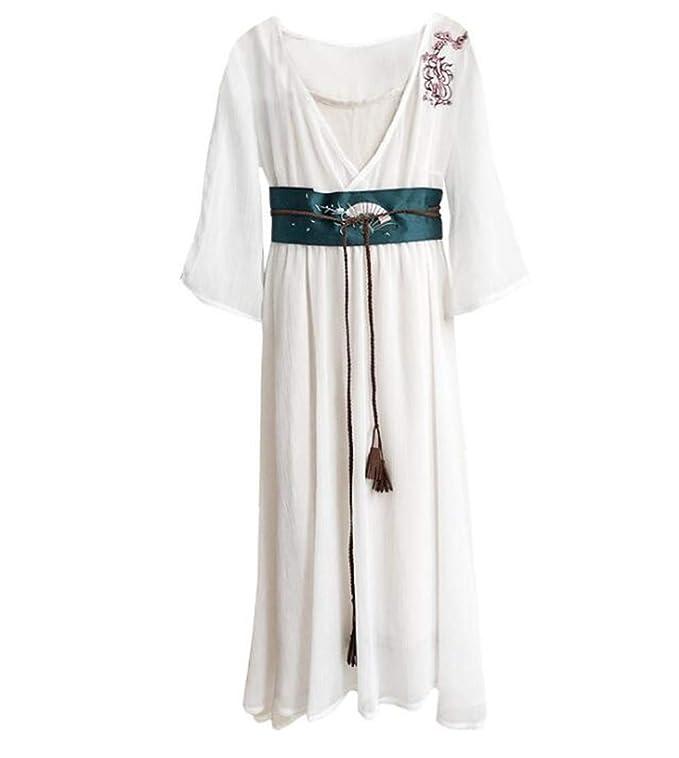Vestido de Damas Costura Gasa Falda Larga Estilo Chino Retro ...