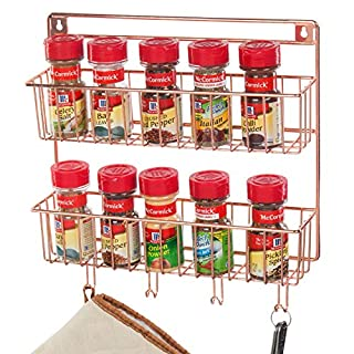 MyGift 2-Tier Copper Metal Wall Mounted Spice Rack with Kitchen Towel & Cooking Utensil Hooks