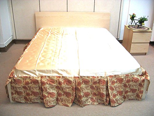 DaDa Bedding Floral Botanic Bed Skirt Dust Ruffle, Shiny Decorative Gold & Bronze, Queen Bronze Bedskirt