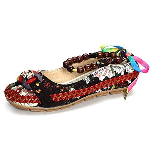 Minetom Women's Vintage Colorful Round Toe Folk Style Flower Cloth Embroidered Beading Shoes Ballet Loafers Dance Flats Black LrEonnEog