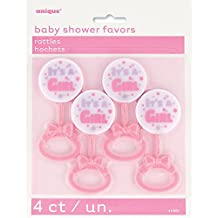 Plastic It's a Girl Pink Rattle Baby Shower Favor Charms, 4ct
