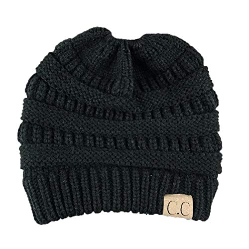 Sasarh Women?s Ponytail Messy Bun Cotton Beanie Winter Warm Stretch Cable Hat Thick Knit Skull Cap