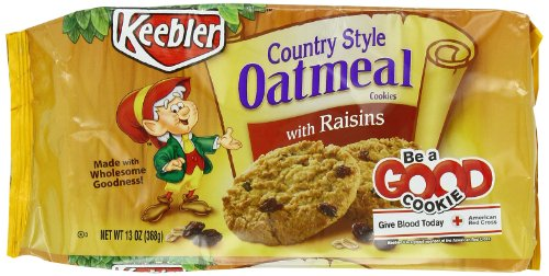 Keebler Country Style Oatmeal Cookies With Raisins, 13 oz. (Pack of 6)