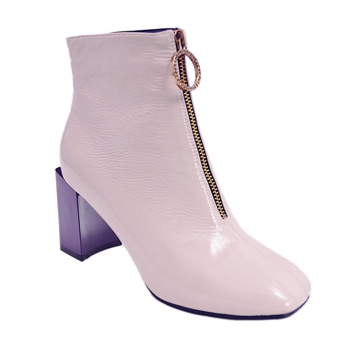 KPHY Damenschuhe - Reißverschluss Reißverschluss Reißverschluss Stiefel Heel 7 cm Lack Square Dicke Sohle Martin Stiefel eed1c1