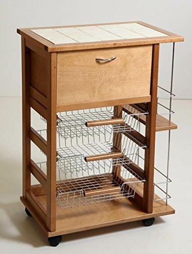 Liberoshopping Fruit Trolley Wooden Bread Bottle-Holder Oak Rack Wheels