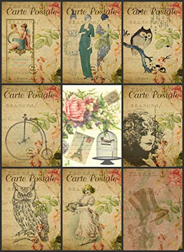 Vintage Printed French Reproduction Post Cards Collage Sheet #104 Scrapbooking, Decoupage, Labels ()