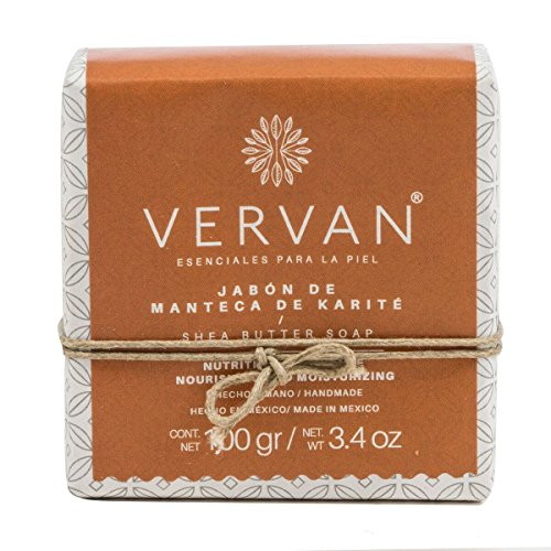 Vervan Natural Handmade Soap, Cold Process, Shea Butter, Regenerate Skin Cells, Cold Process, Emulsified with Organic Olive Oil, Pure Vegetable Oils, Beeswax, 3.4 -