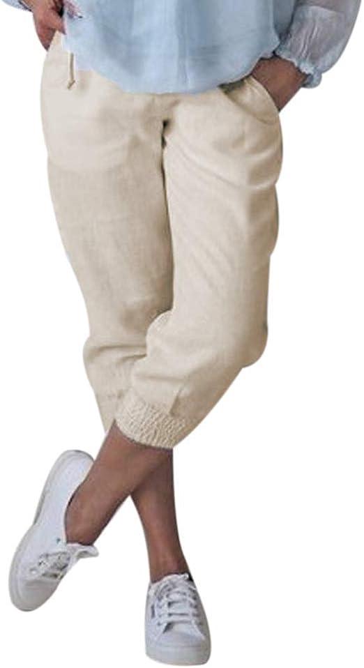 Pantalones Capri De Lino Y Algodón para Mujer Pantalones Ligeros De Verano 3 Festivo 4 Pantalones Cortos Holgados Cortos Pantalones Chinos Pantalones Cortos De Playa De Color Sólido Ocasionales: Amazon.es: Ropa y