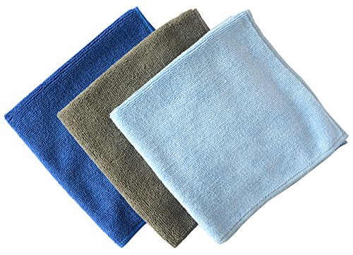Multi-purpose Microfiber Car Cleaning Cloths Absorbent & Fast Drying Towels (16inchx16inch, 1 Grey+1 Dark Blue+1 Light Blue)