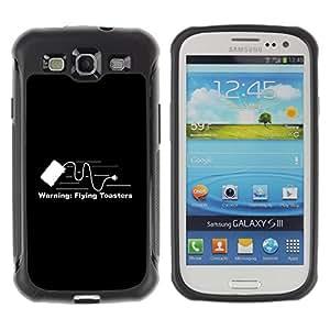 ZAKO Cases / Samsung Galaxy S3 I9300 / Flying Toaster Funny / Robusto Prueba de choques Caso Billetera cubierta Shell Armor Funda Case Cover Slim Armor