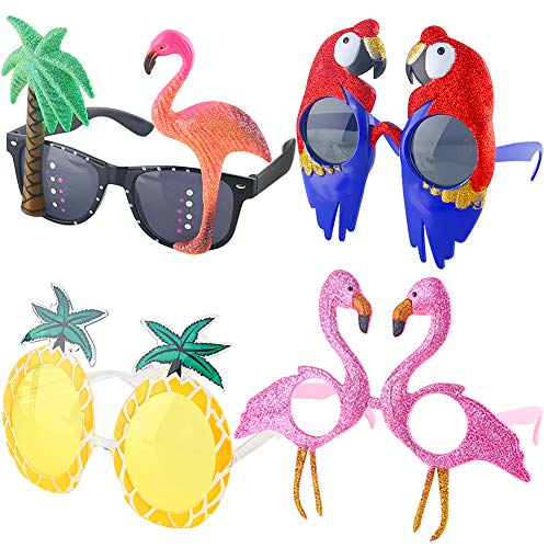 POPLAY 4 Pairs Funny Novelty Party Eyeglasses Hawaiian Tropical Sunglasses Creative Beach Photo Booth Props for Teenagers and Adults