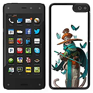 A-type Arte & diseño plástico duro Fundas Cover Cubre Hard Case Cover para Amazon Fire Phone (Pirate Teal Sword Kids Butterfly White)