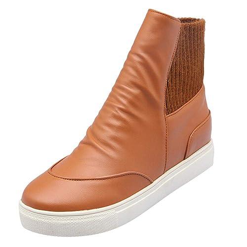 Botines y Botines Militares cuña para Mujer Otoño Moda PAOLIAN Casual Botas tacón Marrón Zapatos de Cuero Señora Invierno Tallas Grandes Calzado Dama ...