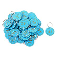uxcell® Plastic Household Round Shape Number Label Suitcase Package Ring Key Tags 50pcs