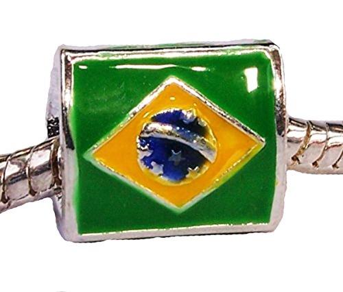 Brazilian Flag of Brazil Olympics Charm for European Style Bracelets
