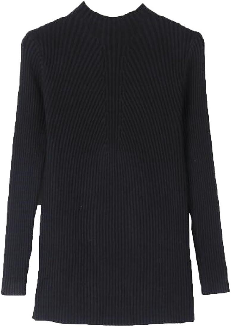 KLJR-Women Blouse Plus Size Mock Neck Slimming Pullover Turtleneck Thicken Sweater Cardigan Coat Black US S