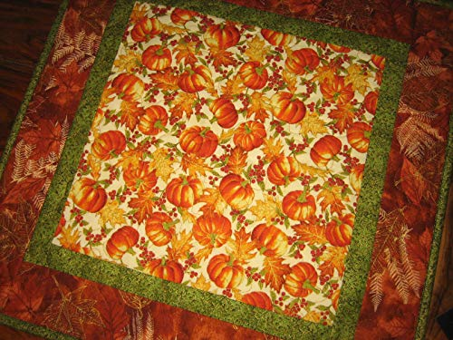 Fall Pumpkins Quilted Table Topper, Autumn Square Table Mat 20x20 in from Tahoe Quilts