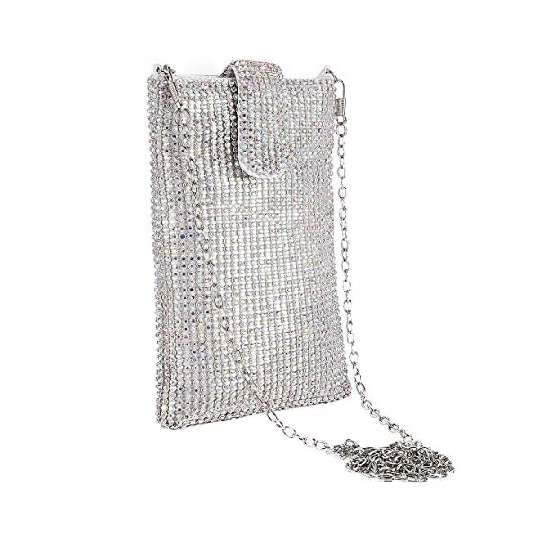 Evening Handbags Clutch Purses for Women Metal mesh Small Crossbody Bag Cell Phone...