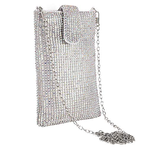 Evening Handbags Clutch Purses for Women Crystal Rhinestone Small Crossbody Bag Cell Phone Purse Wallet in ABcolour