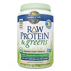 Garden of Life Greens and Protein Powder - Organic Raw Protein and Greens with Probiotics/Enzymes, Vegan, Gluten-Free, Vanilla, 19.3oz (1lb 3 oz/548g) Powder