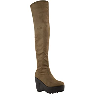 a9ab90621a7e WOMENS LADIES SEXY OVER THE KNEE THIGH HIGH CHUNKY PLATFORM HEEL STRETCH  BOOTS