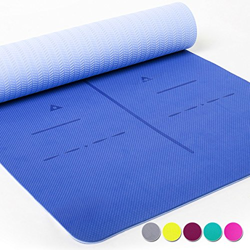 Heathyoga LIMITED TIME DEAL Eco Friendly Non Slip Yoga Mat, Body Alignment System, SGS Certified TPE Material – Textured Non Slip Surface and Optimal Cushioning,72″x 26″ Thickness 1/4