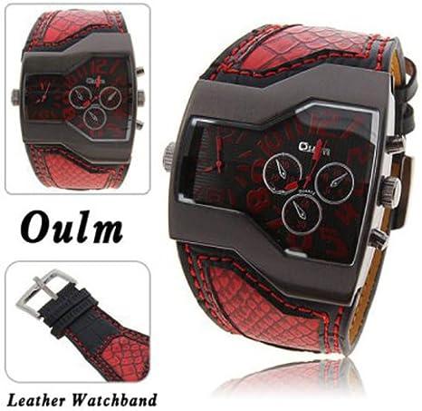 OULM Militar Hombres & # 39; s reloj con esfera Dual Movt piel banda