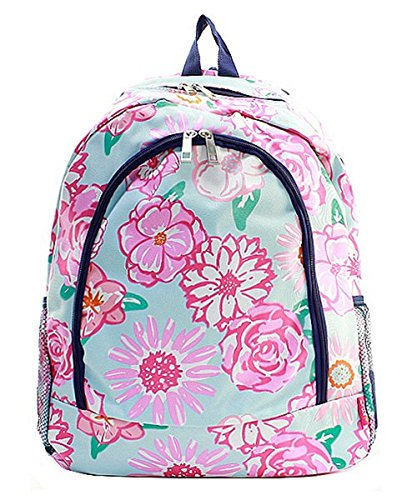 Flower Canvas Backpack Handbag (Navy Blue) by Handbag Inc