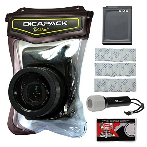 DiCAPac WP-570 Waterproof Case with EN-EL12 Battery + LED Torch + Gel Packets + Kit for Nikon Coolpix A900, S9700, S9900 Cameras ()